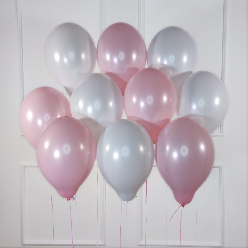 Шарики под потолок бело-розовые