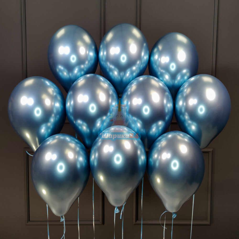 Облако синих хромированных шаров