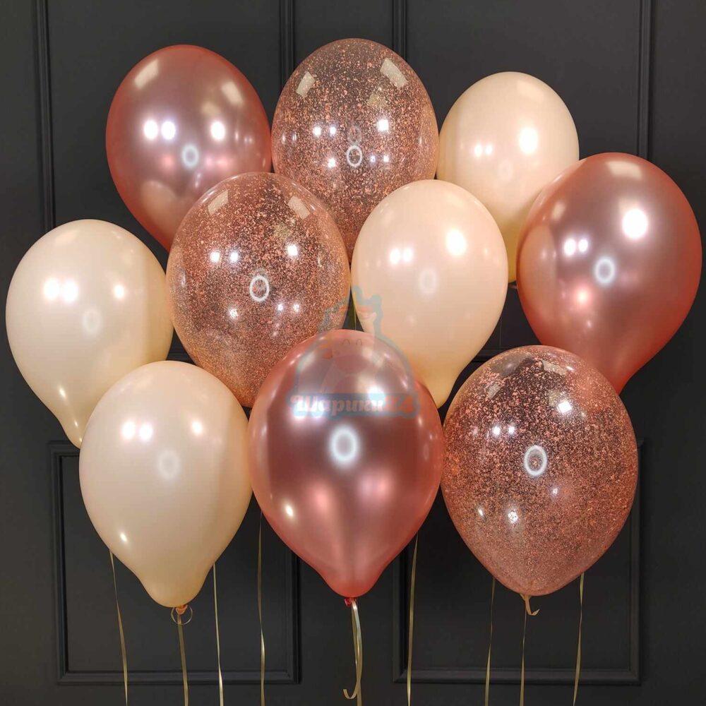 Воздушные шары на 14 февраля розовое золото