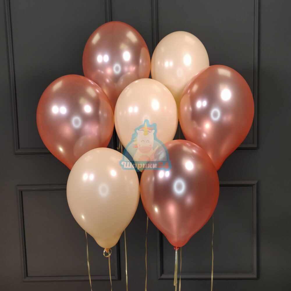 Облако из воздушных шаров розовое золото и персиковых