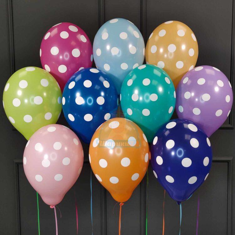Воздушные разноцветные шарики в точку