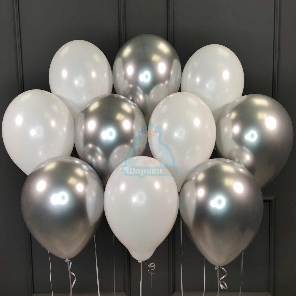 Облако хромированных серебряных и белых шаров