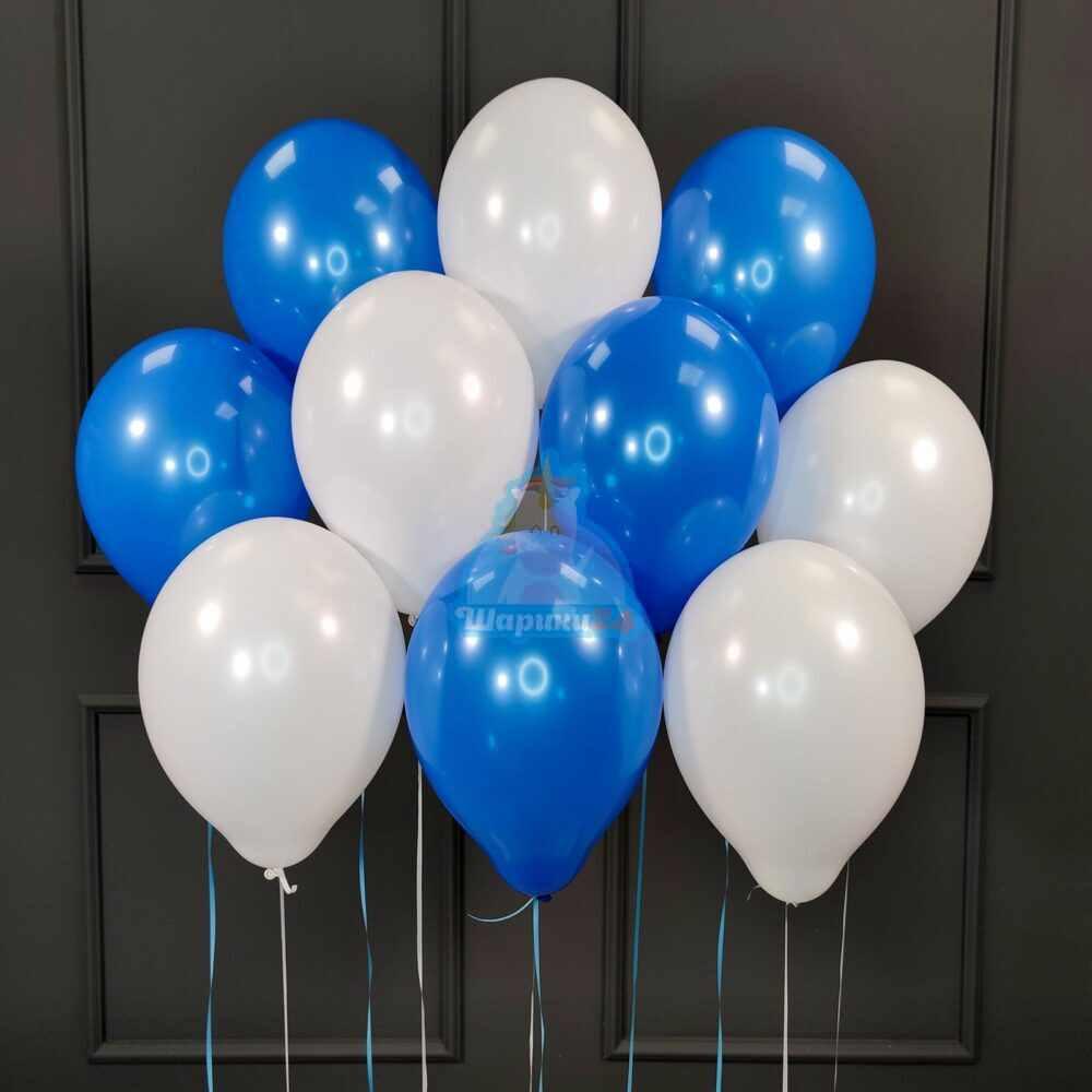 Гелиевые шары бело-синие