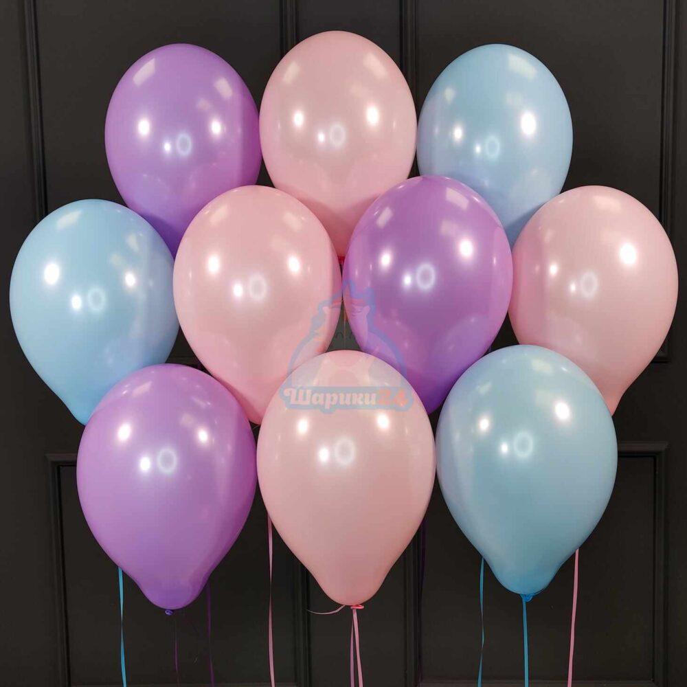 Гелиевые шары ассорти нежные цвета