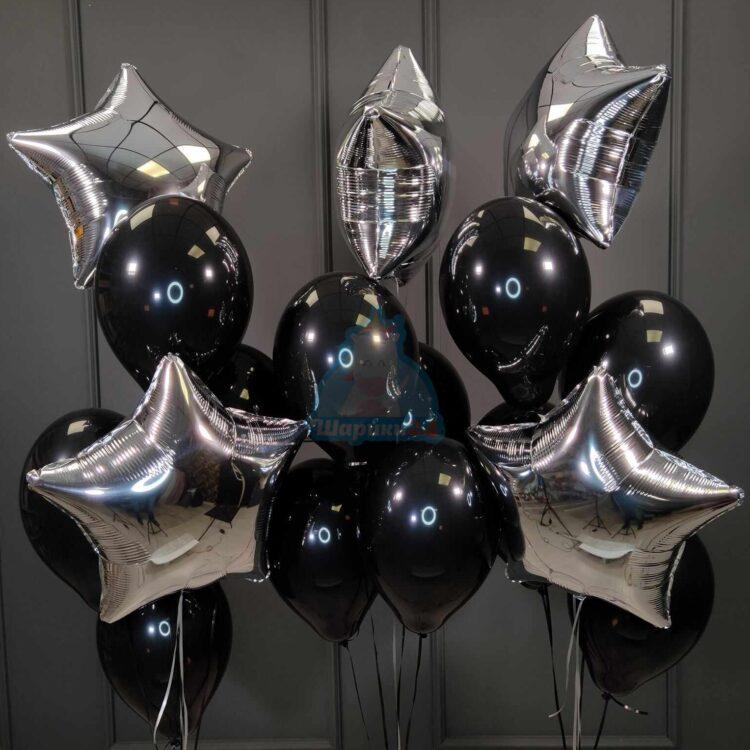 Композиция из черных шариков со звездами на день рождения мужчине