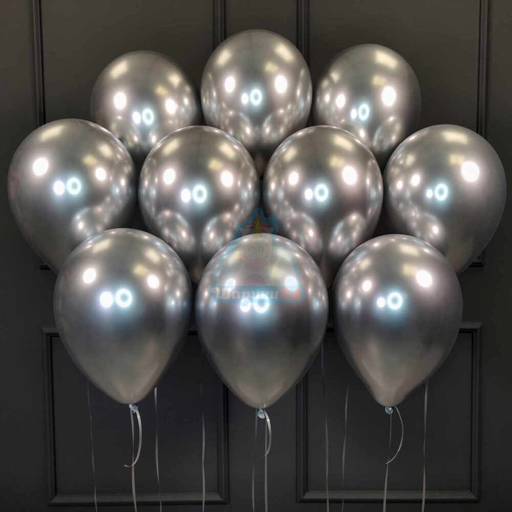 Серебряные хромированные шары под потолок