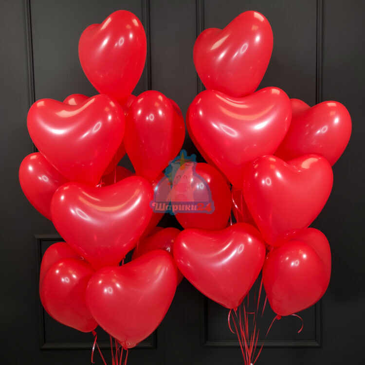 Латексные красные сердца с гелием