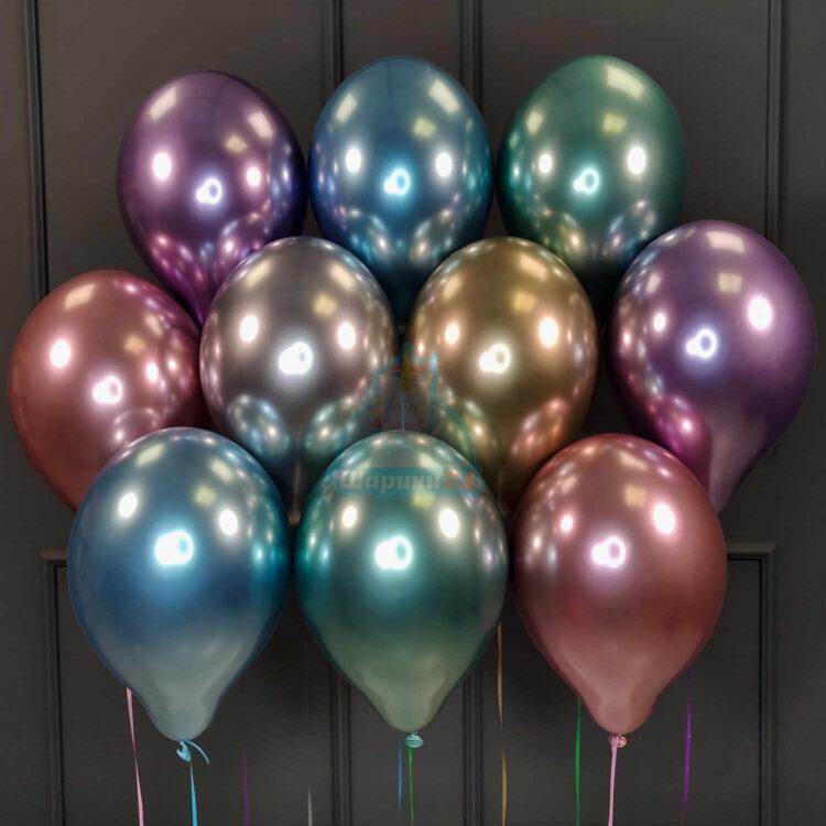 Воздушные разноцветные хромированные шарики