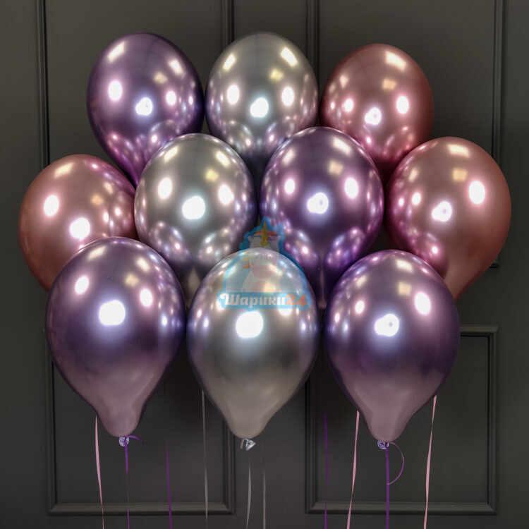 Шары под потолок хромированные розовые, фиолетовые и серебряные
