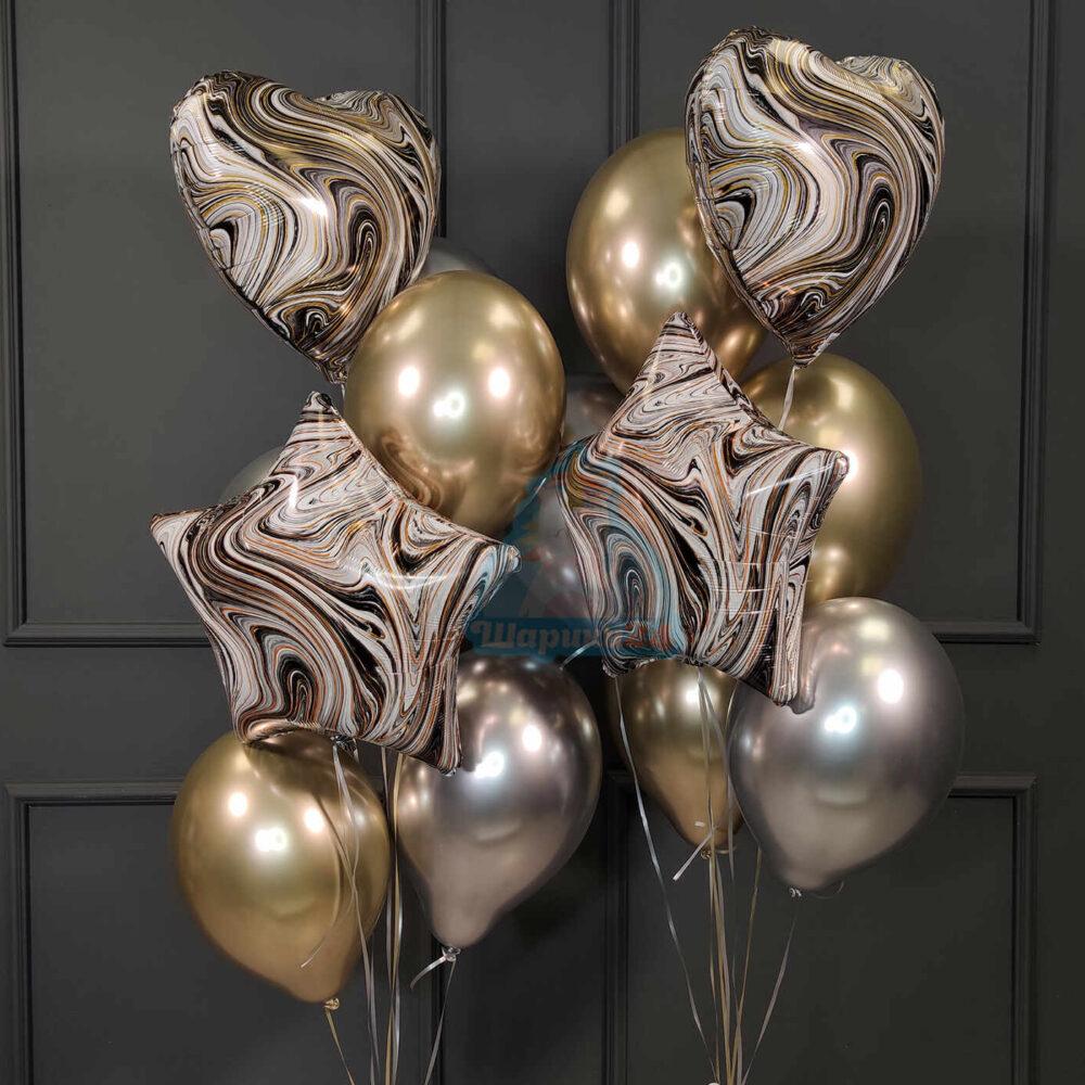 Композиция из серебряных и золотых хромированных шаров со звездами