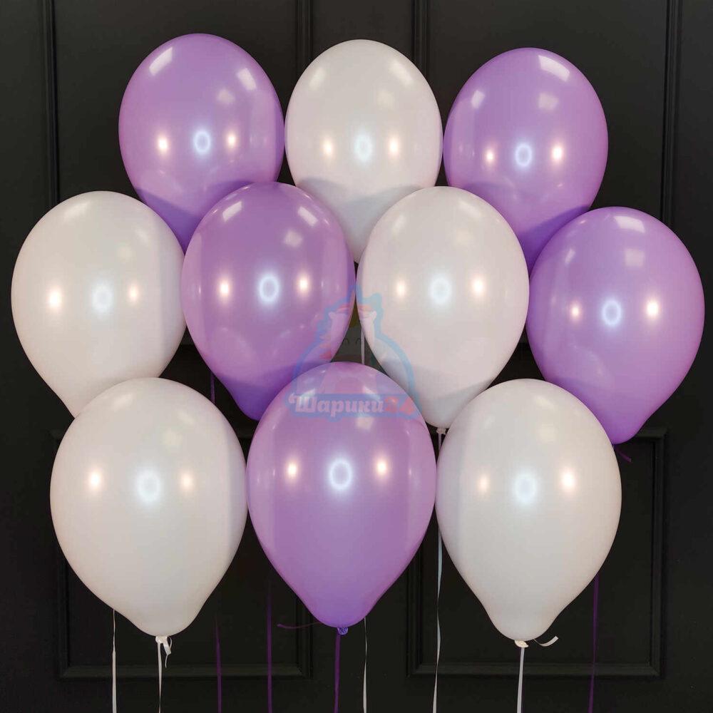 Облако бело-фиолетовых шариков