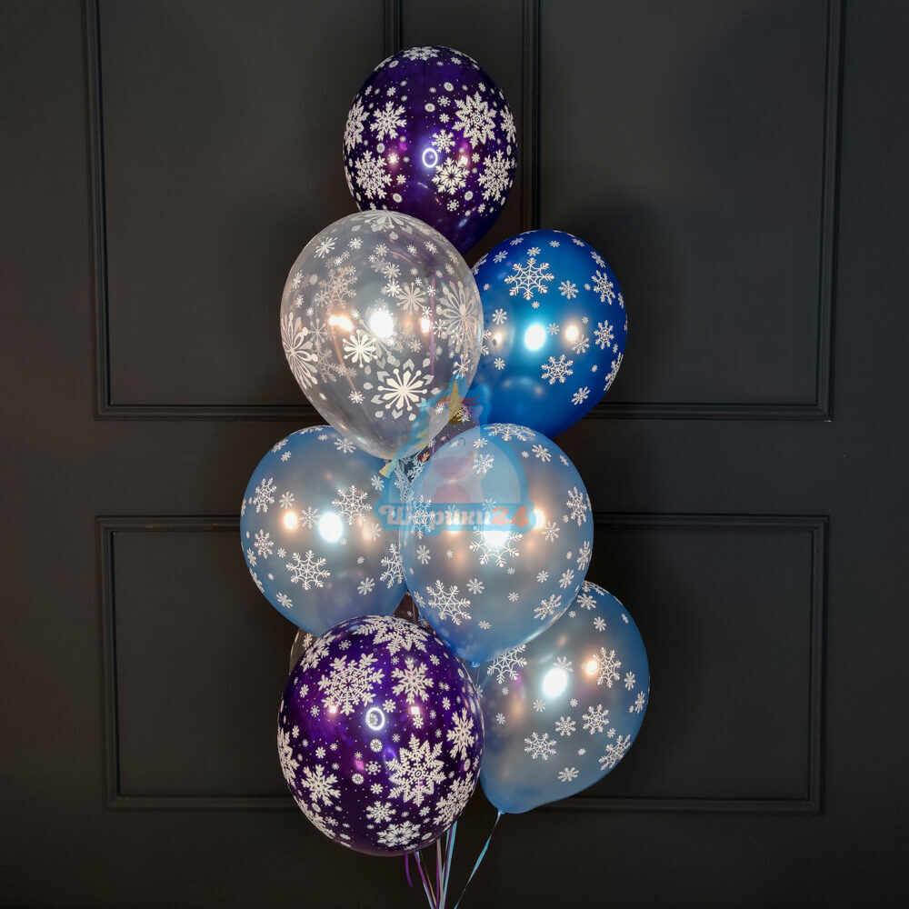 Гелиевые шары белые, голубые и синие снежинки