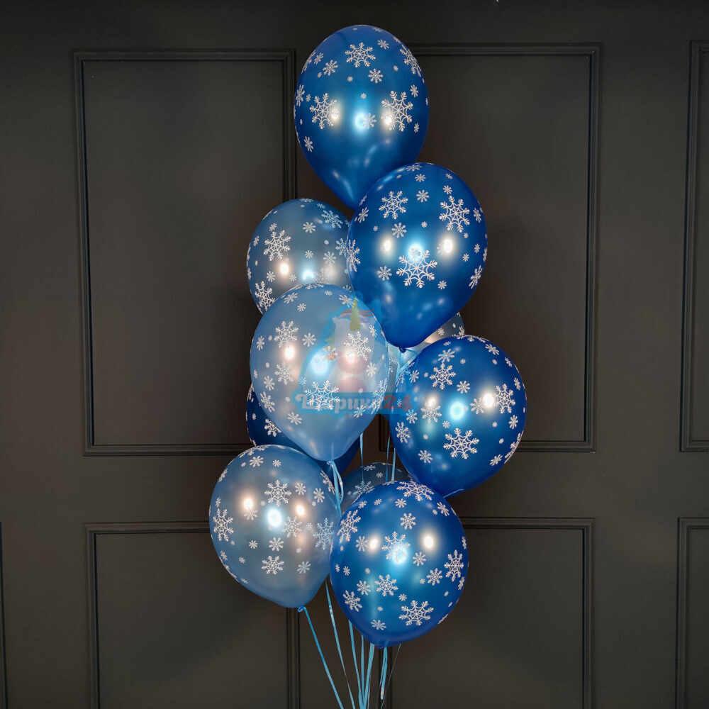 Голубые и синие снежинки металлик