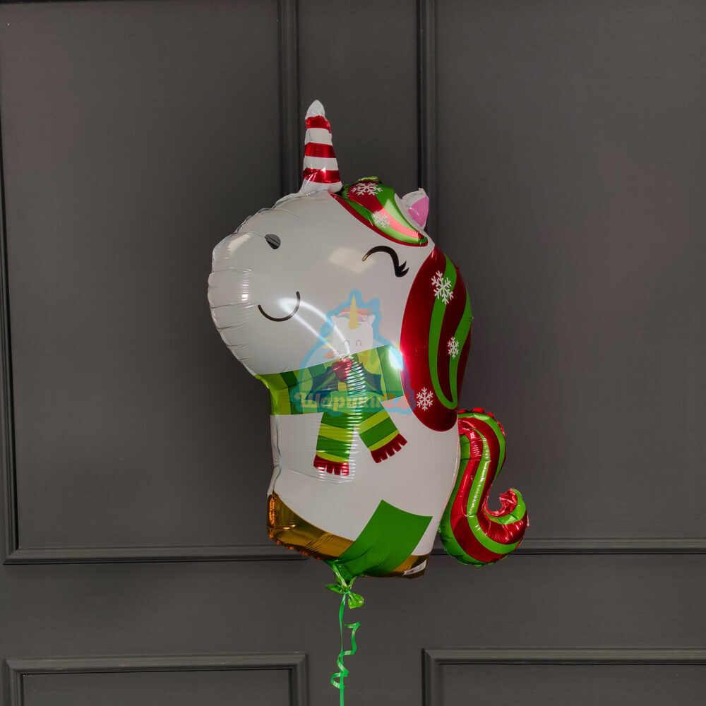 Фольгированная фигура единорог новогодний