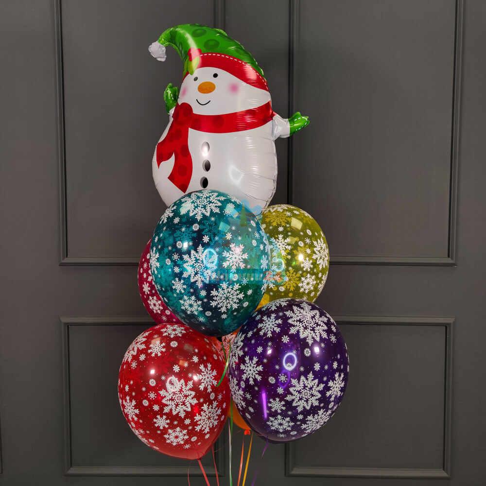 Фольгированный снеговик маленький с разноцветными снежинками