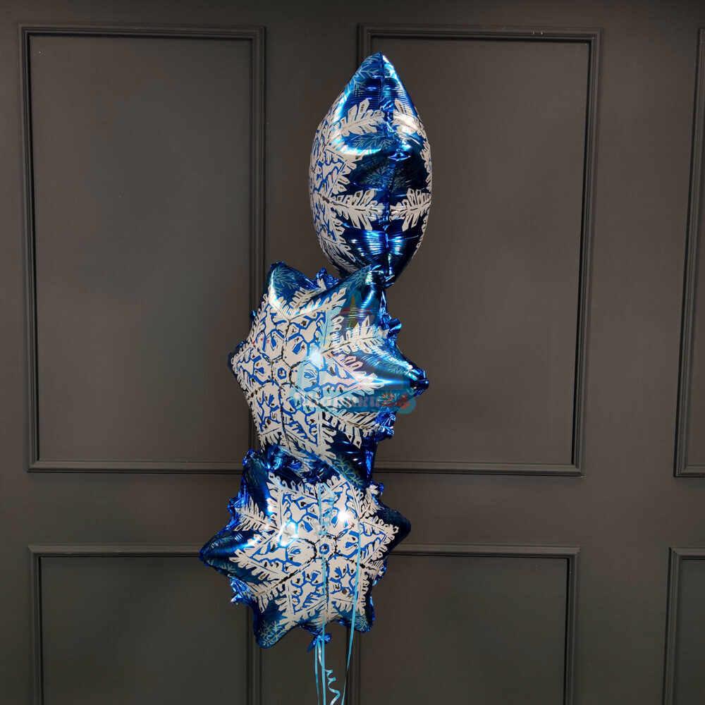 Фольгированная фигура снежинка синяя