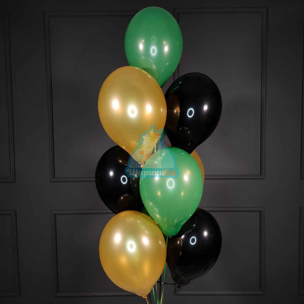 Черные зеленые и золотые шары на 23 февраля