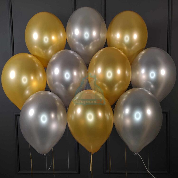 Облако золотых и серебряных шариков металлик