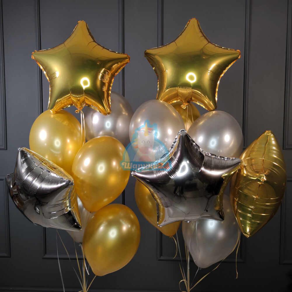 Композиция из серебряных и золотых шариков со звездами ко дню влюбленных