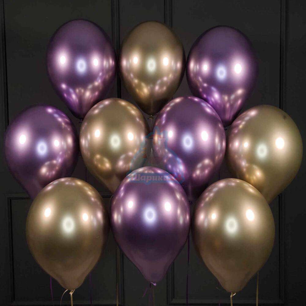 Шары под потолок хромированные фиолетовые и золотые