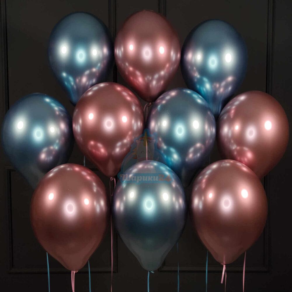Гелиевые шары хромированные синие и розовые
