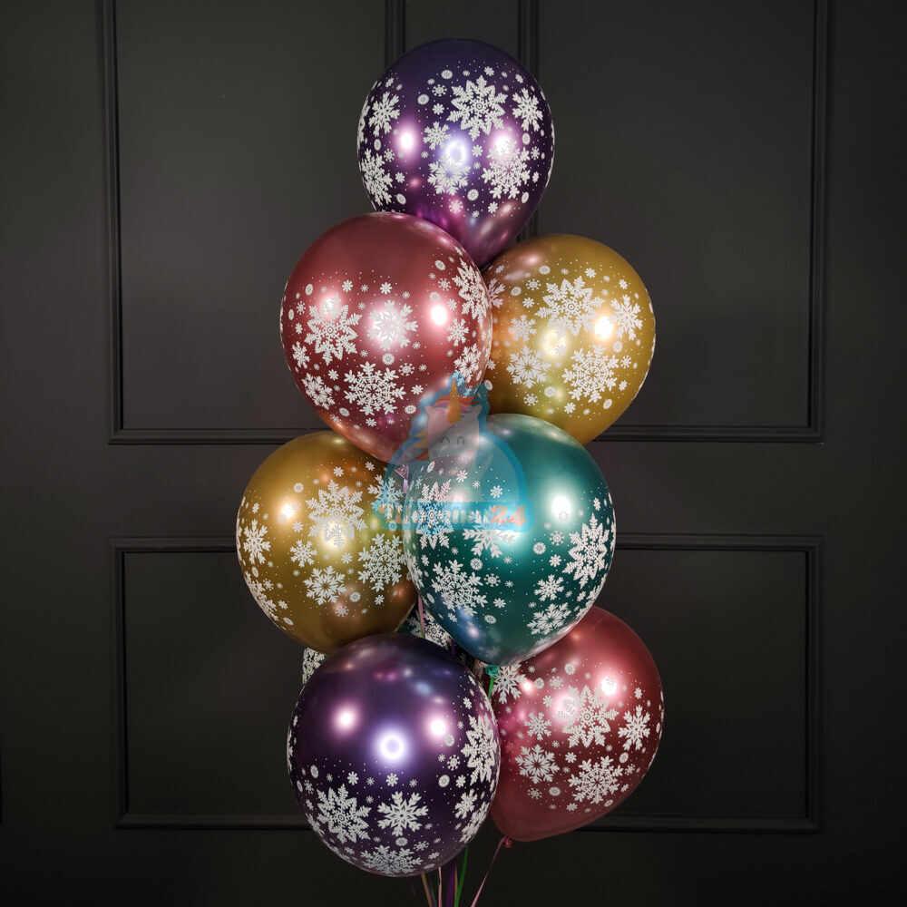 Разноцветные шарики снежинки хром