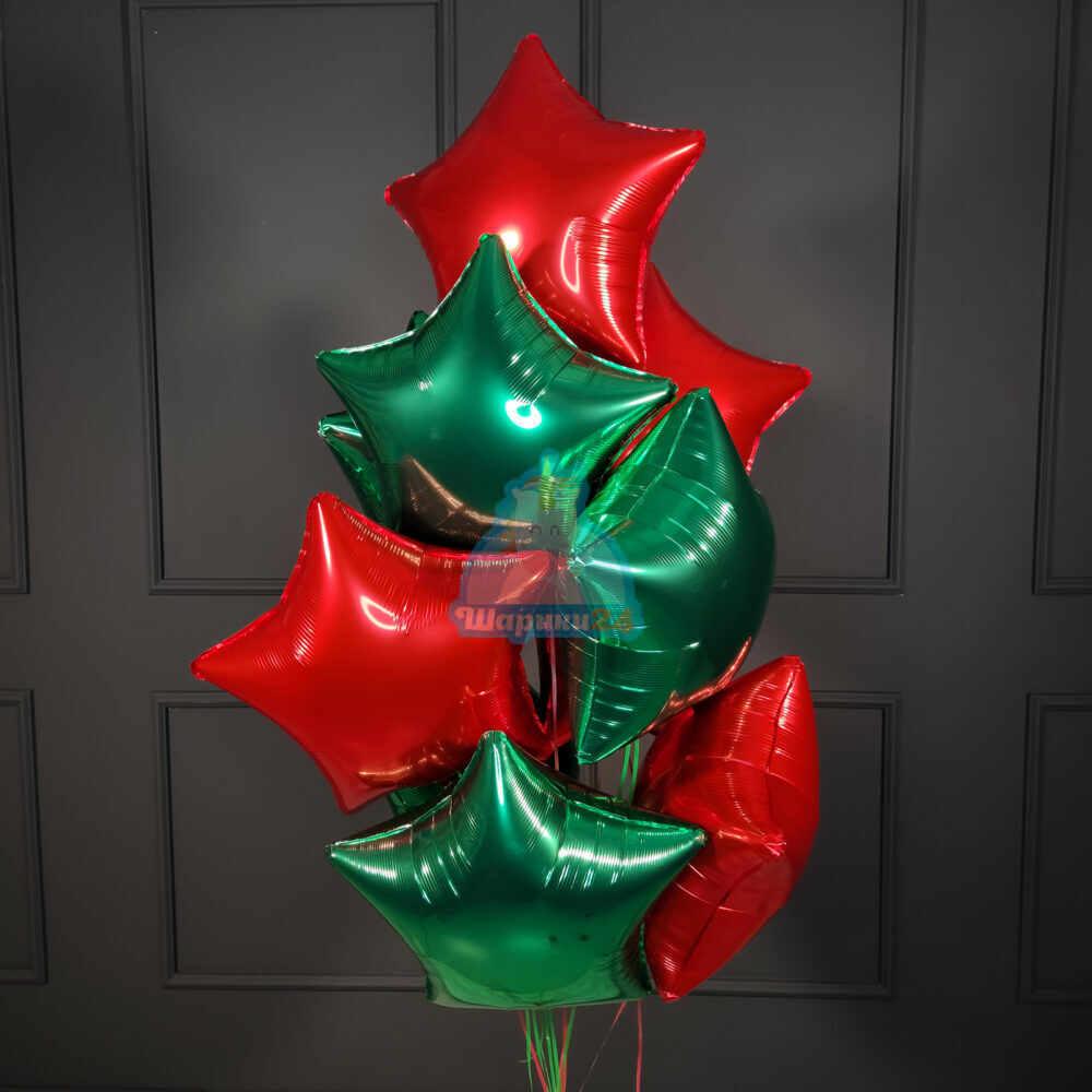 Красные и зеленые звезды на новый год