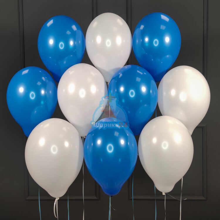 Облако бело-синих шариков