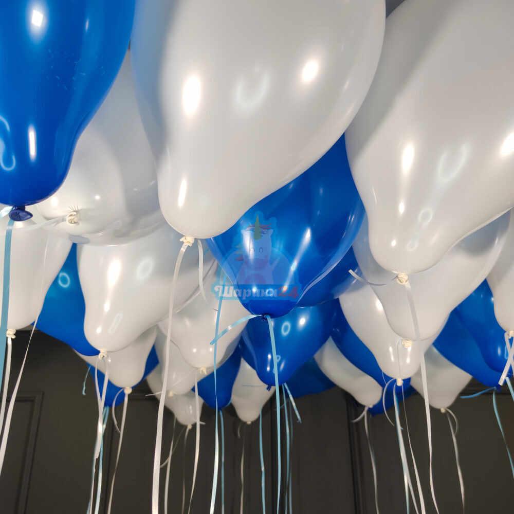 Шары под потолок бело-синие