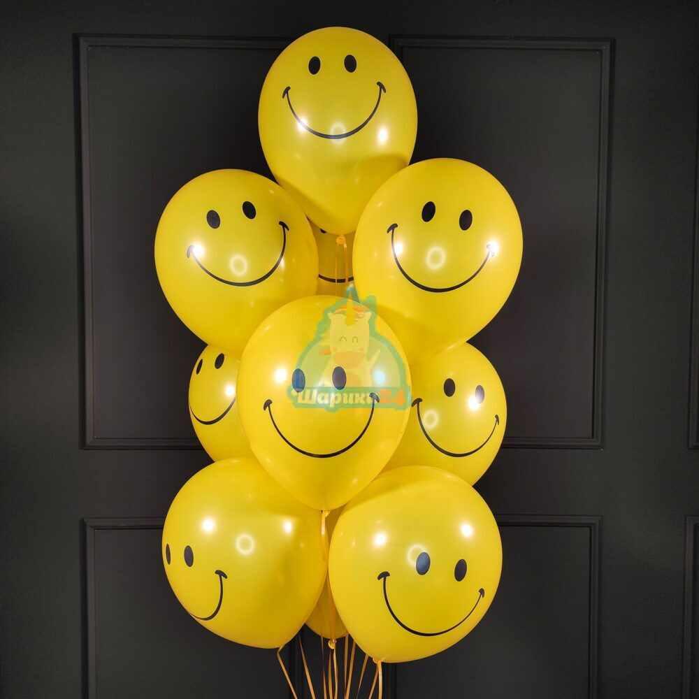 Облако желтых шариков смайликов