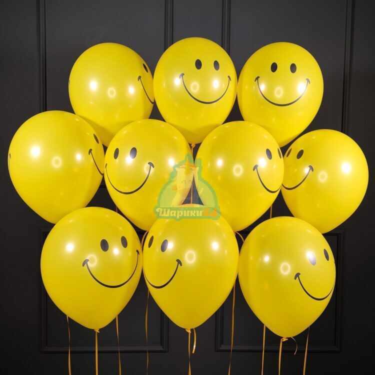 Гелиевые шары желтых шариков смайликов