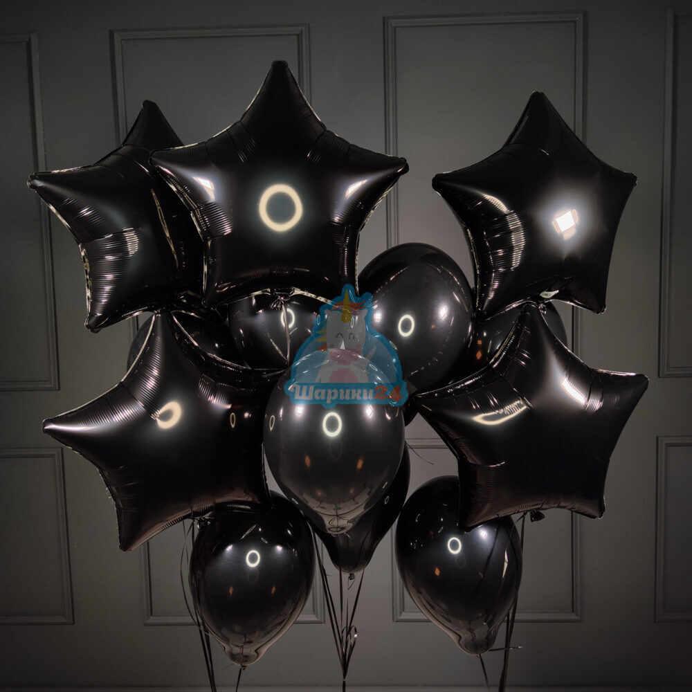 Композиция черных шаров с черными звездами
