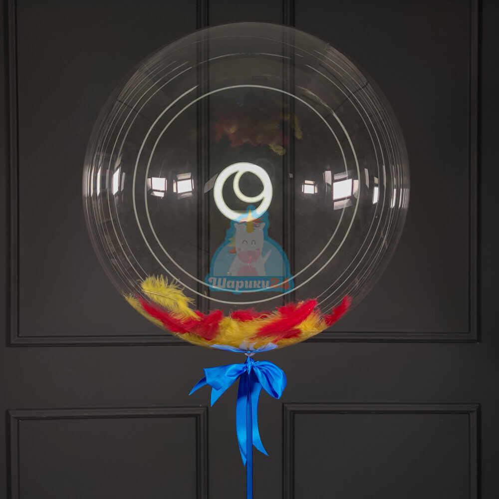 Кристальный шар Bubbles с желтыми и красными перьями
