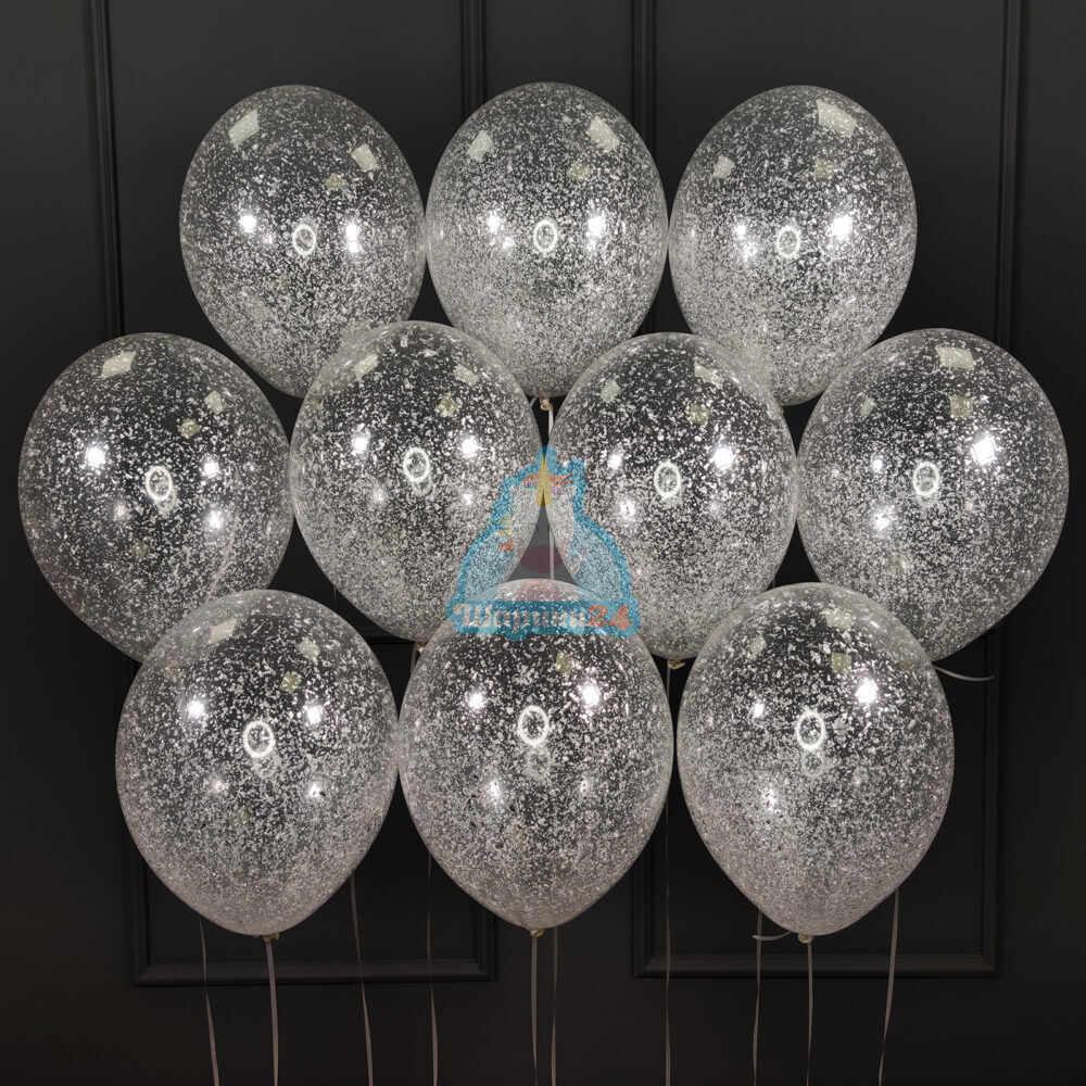 Шары с гелием прозрачные с серебряными блестками