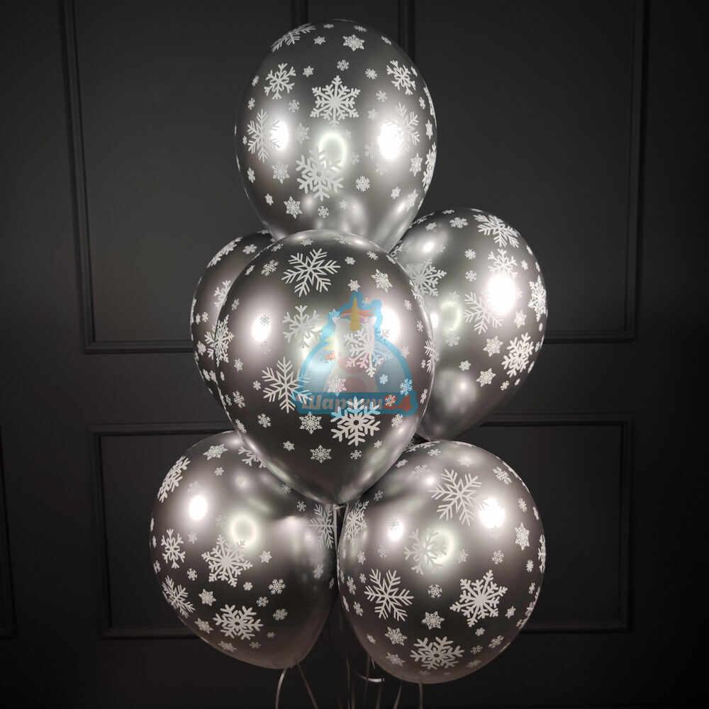 Воздушные хромированные серебряные снежинки