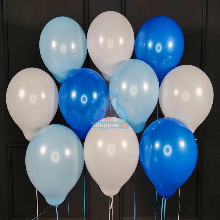 Воздушные белые голубые и синие шарики