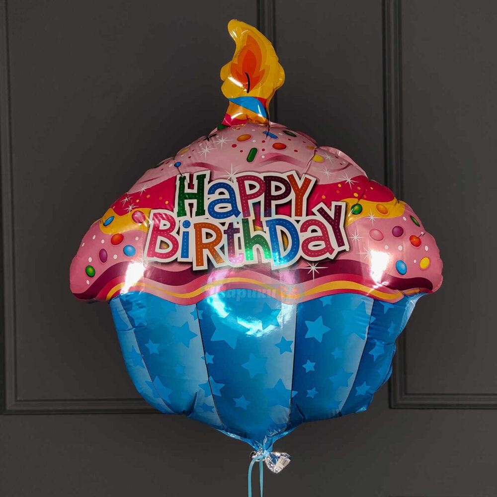 Фольгированная фигура кекс Happy Birthday