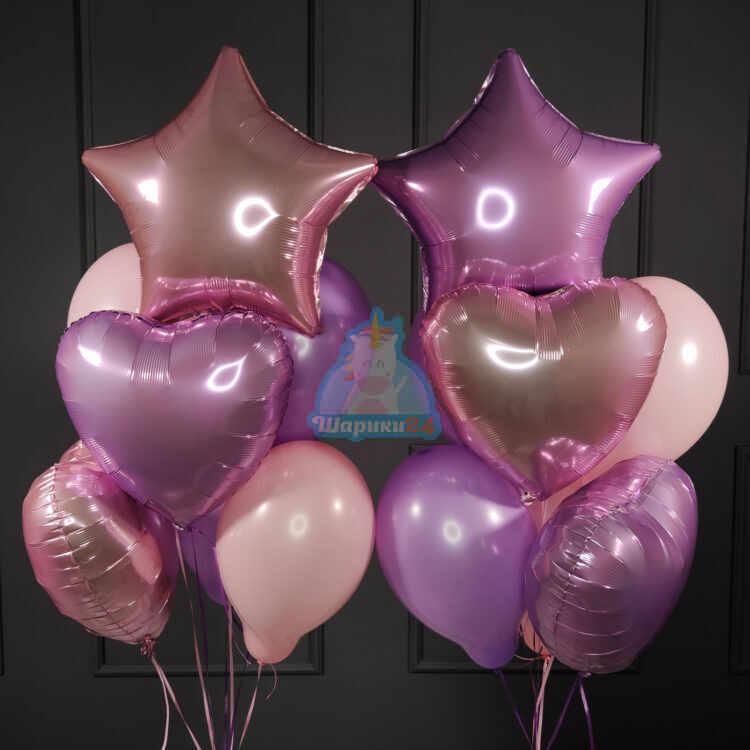 Композиция из розовых и сиреневых воздушных шаров с сердцами и звездами