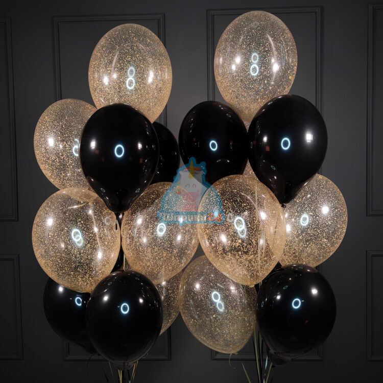 Воздушные шарики черные и прозрачные с золотыми блестками