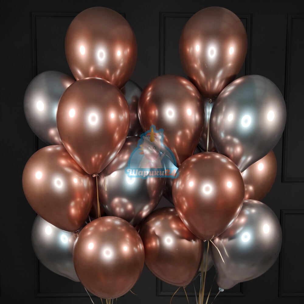 Воздушные хромированные серебряные и розовые шарики