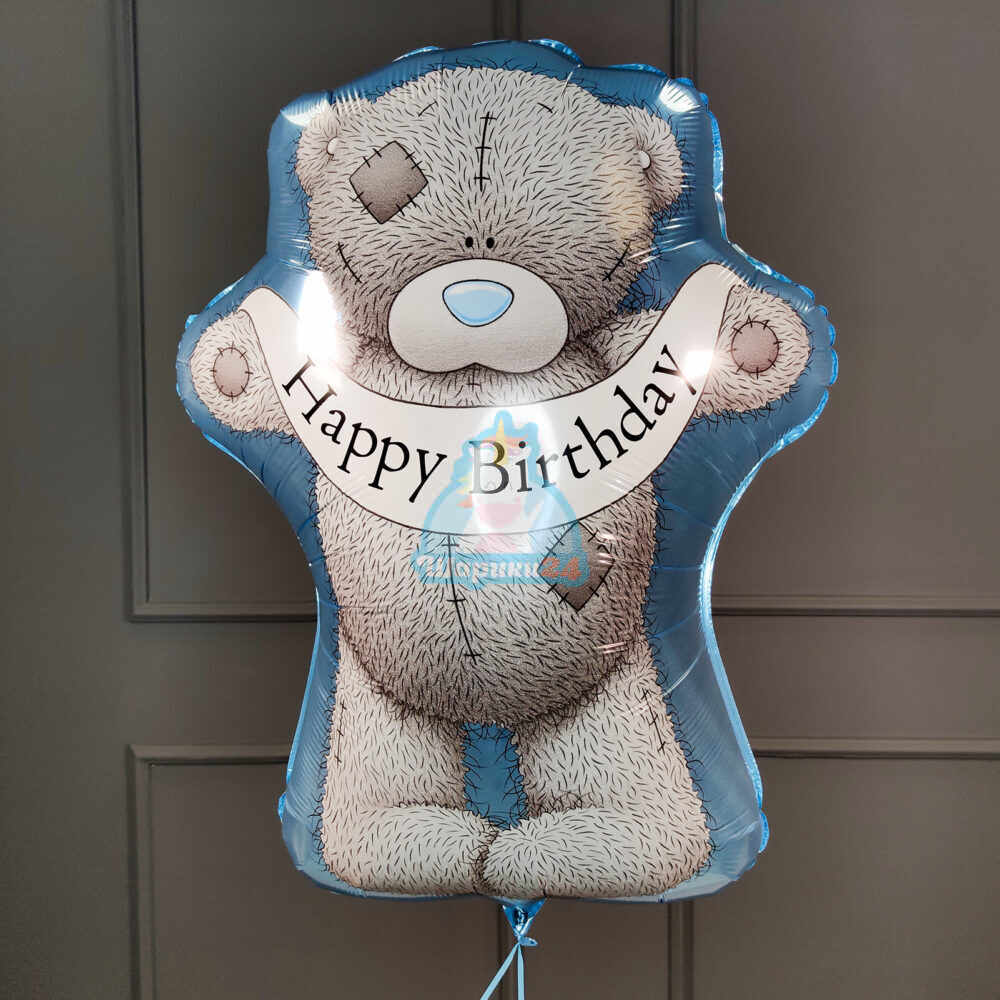 Фольгированная фигура Мишка Тедди с днем рождения