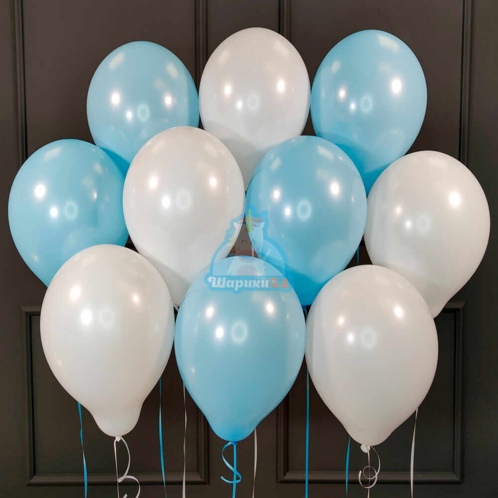 Гелиевые шары бело-голубые