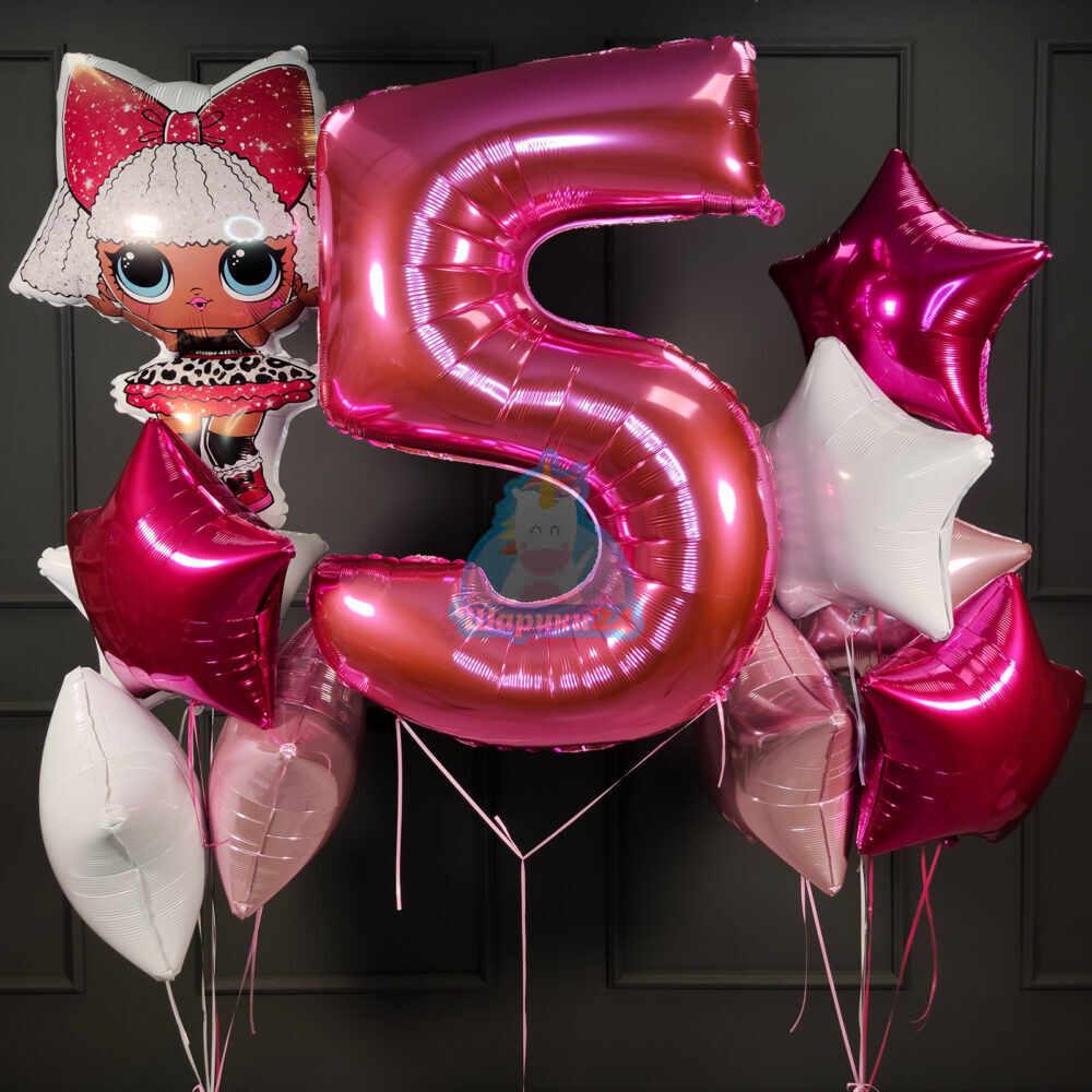 Композиция из воздушных шаров с куклой ЛОЛ (LOL) цифрой и звездами