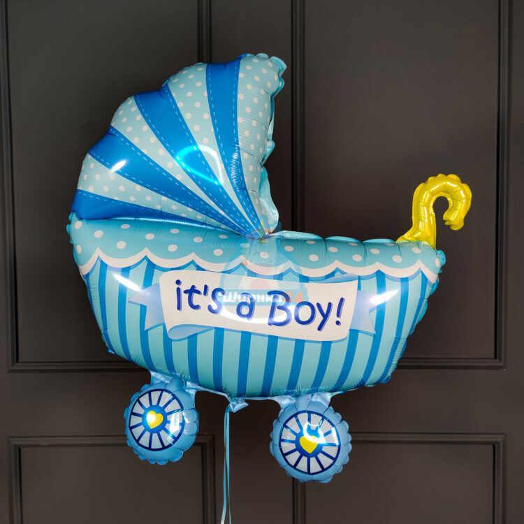 Фольгированная фигура коляска для мальчика
