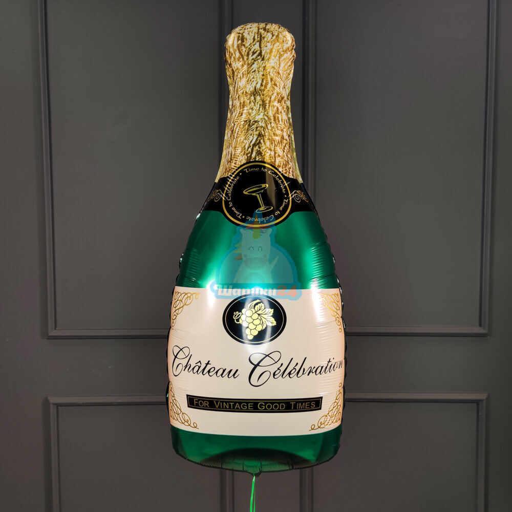 Фольгированная фигура бутылка шампанского зеленая