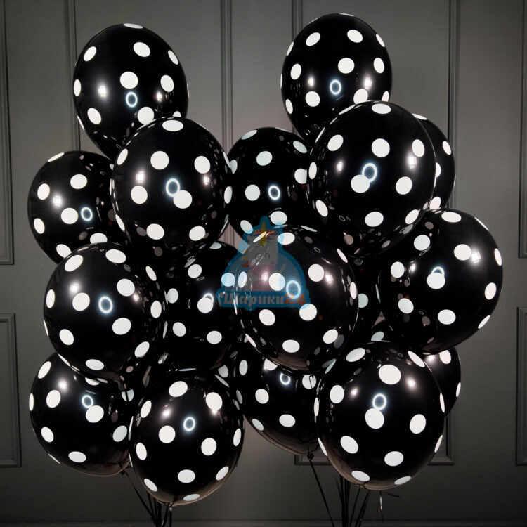 Гелиевые шары черные в точку