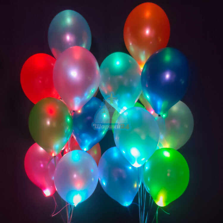 Светящиеся разноцветные шары металлик с мигающими разноцветными светодиодами