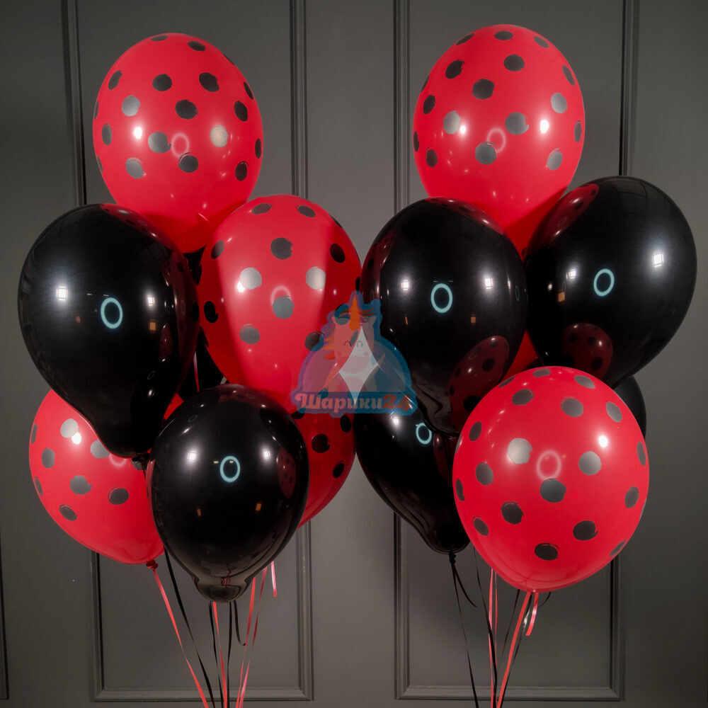 Облако черных и красных шариков в точку