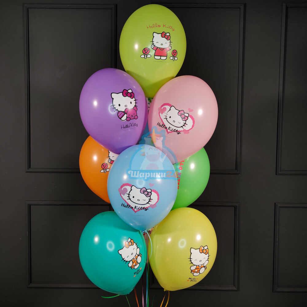 Шары под потолок разноцветные с Hello Kitty