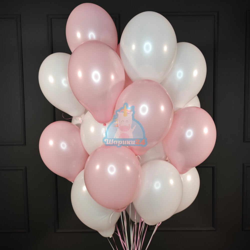 Воздушные шарики бело-розовые